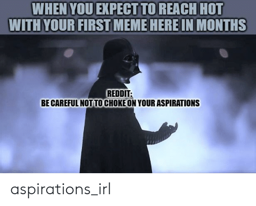 Be Careful Not To Choke On Your Aspirations: WHEN YOU EXPECT TO REACH HOT  WITH YOUR FIRST MEME HERE IN MONTHS  REDDIT:  BE CAREFUL NOT TO CHOKE ON YOUR ASPIRATIONS aspirations_irl