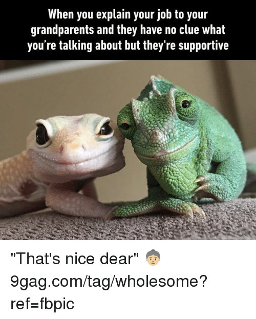 "9gag, Dank, and Wholesome: When you explain your job to your  grandparents and they have no clue what  you're talking about but they're supportive ""That's nice dear"" 👵🏼 9gag.com/tag/wholesome?ref=fbpic"