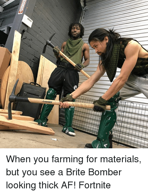 Af, Memes, and Farming: When you farming for materials, but you see a Brite Bomber looking thick AF! Fortnite