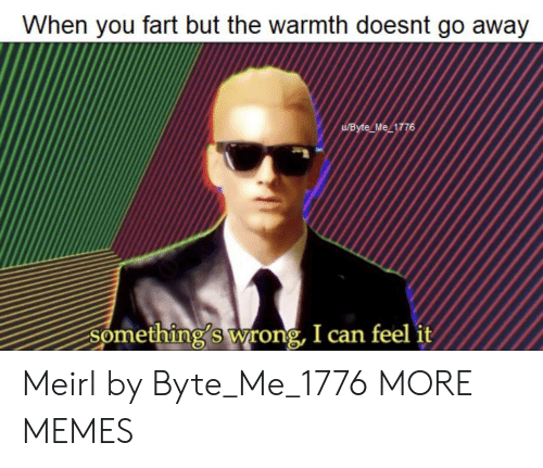byte: When you fart but the warmth doesnt go away  UByte Me 1776  Something's wrong, I can feel it Meirl by Byte_Me_1776 MORE MEMES