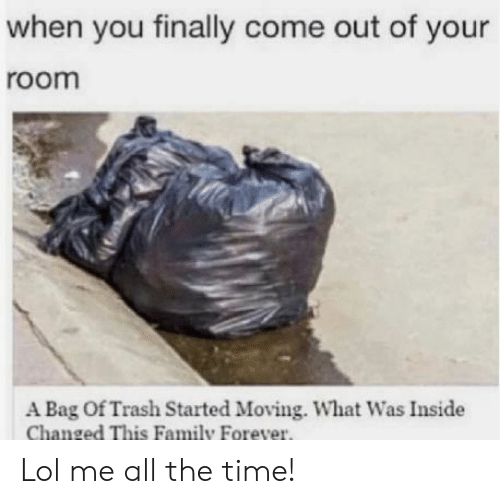 Bag Of: when you finally come out of your  room  A Bag Of Trash Started Moving. What Was Inside  Changed This Family Forever. Lol me all the time!