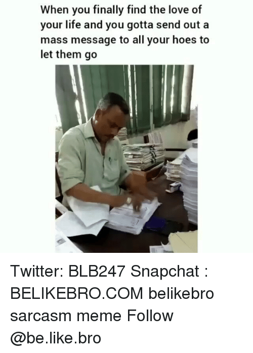 Be Like, Hoes, and Life: When you finally find the love of  your life and you gotta send out a  mass message to all your hoes to  let them go Twitter: BLB247 Snapchat : BELIKEBRO.COM belikebro sarcasm meme Follow @be.like.bro