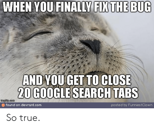 funnies: WHEN YOU FINALLY FIX THE BUG  ANDYOU GET TO CLOSE  20 GOOGLE SEARCH TABS  imgflip.com  found on devrant.com  posted by Funnies tC low n So true.