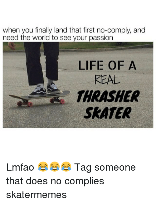 Life, World, and Tag Someone: when you finally land that first no-comply, and  need the world to see your passion  LIFE OF A  REAL  THRASHER  SRATER Lmfao 😂😂😂 Tag someone that does no complies skatermemes
