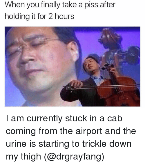 Trickle Down: When you finally take a piss after  holding it for 2 hours I am currently stuck in a cab coming from the airport and the urine is starting to trickle down my thigh (@drgrayfang)