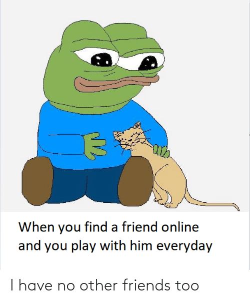 find a: When you find a friend online  and you play with him everyday I have no other friends too