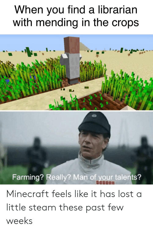 Farming: When you find a librarian  with mending in the crops  Farming? Really? Man of your talents? Minecraft feels like it has lost a little steam these past few weeks