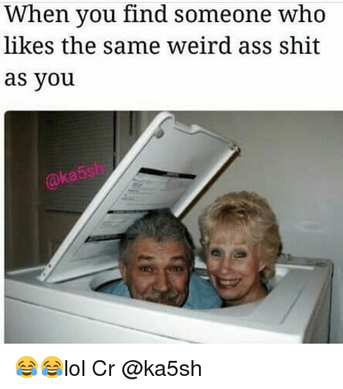 Memes, Shit, and Weird: When you find someone who  likes the same Weird as Shit  as you 😂😂lol Cr @ka5sh