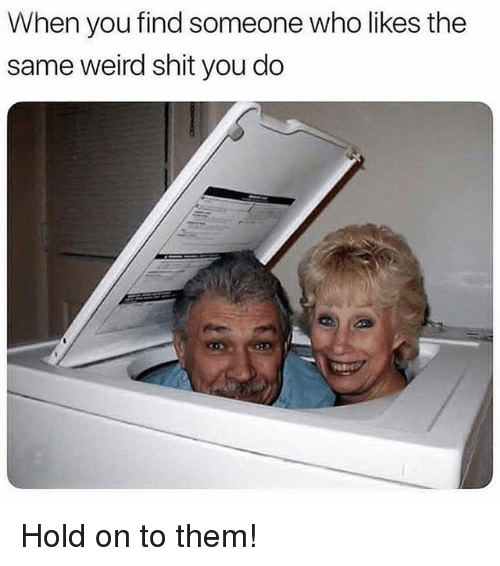 Memes, Shit, and Weird: When you find someone who likes the  same weird shit you do Hold on to them!