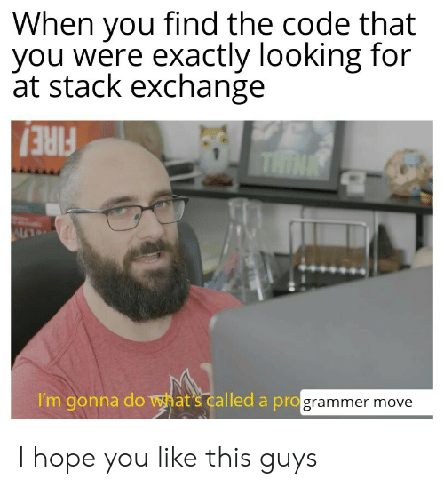 this guys: When you find the code that  you were exactly looking for  at stack exchange  THINK  FIRE!  I'm gonna do what's called a programmer move I hope you like this guys