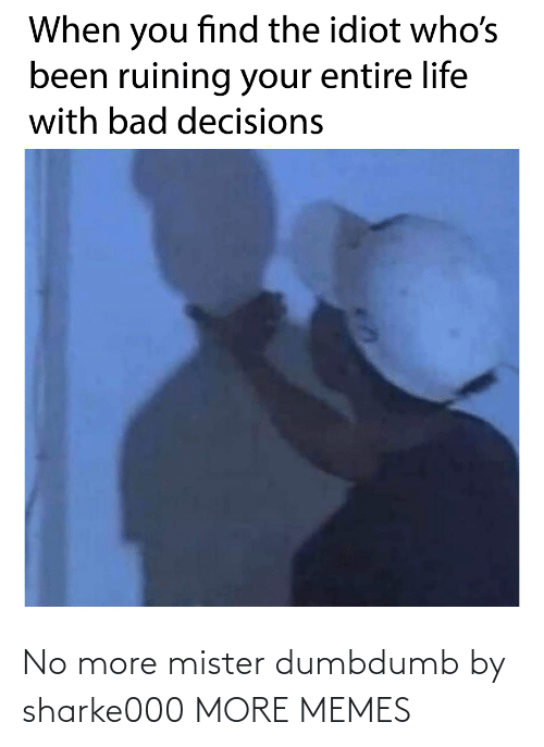 Bad Decisions: When you find the idiot who's  been ruining your entire life  with bad decisions No more mister dumbdumb by sharke000 MORE MEMES