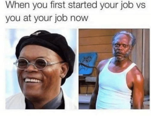 Memes, 🤖, and Job: When you first started your job vs  you at your job now