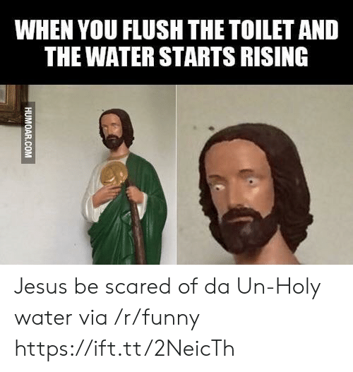 Holy Water: WHEN YOU FLUSH THE TOILET AND  THE WATER STARTS RISING Jesus be scared of da Un-Holy water via /r/funny https://ift.tt/2NeicTh