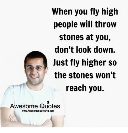 dont look down: When you fly high  people will throw  stones at you  don't look down.  Just fly higher so  the stones won't  reach you.  Awesome Quotes  www.Awesomequotes4u.com