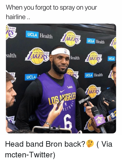 Hairline: When you forgot to spray on your  hairline ..  GELEs  UCLA Health  AKERS  LOSANGELES  UCLA Health  LOS ANGELES  alth  KERS  OSANGELE  ealth  OS ANGELES  ES  UCLAT  UCLA Health  OS ANGELES  AKERS  KET  CLA  LES Head band Bron back?🤔 ( Via mcten-Twitter)