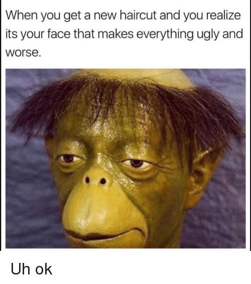 Funny, Haircut, and Ugly: When you get a new haircut and you realize  its your face that makes everything ugly and  worse Uh ok