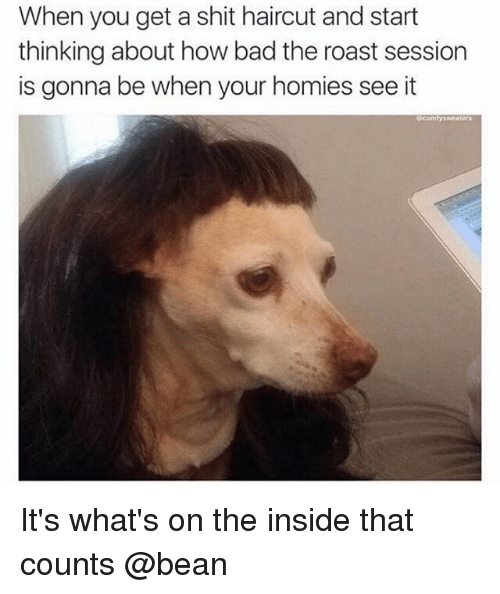Roasting Session: When you get a shit haircut and start  thinking about how bad the roast session  is gonna be when your homies see it  comfy weaters It's what's on the inside that counts @bean