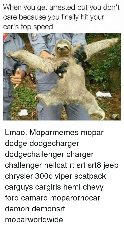 Cars, Lmao, and Memes: When you get arrested but you don't  care because you finally hit your  car's top speed Lmao. Moparmemes mopar dodge dodgecharger dodgechallenger charger challenger hellcat rt srt srt8 jeep chrysler 300c viper scatpack carguys cargirls hemi chevy ford camaro moparornocar demon demonsrt moparworldwide