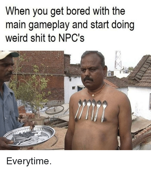 gameplay: When you get bored with the  main gameplay and start doing  weird shit to NPC's Everytime.