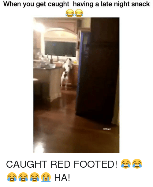 late night snacks: When you get caught having a late night snack CAUGHT RED FOOTED! 😂😂😂😂😂😭 HA!