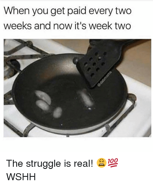 Memes, Struggle, and The Struggle Is Real: When you get paid every two  weeks and now it's week two The struggle is real! 😩💯 WSHH