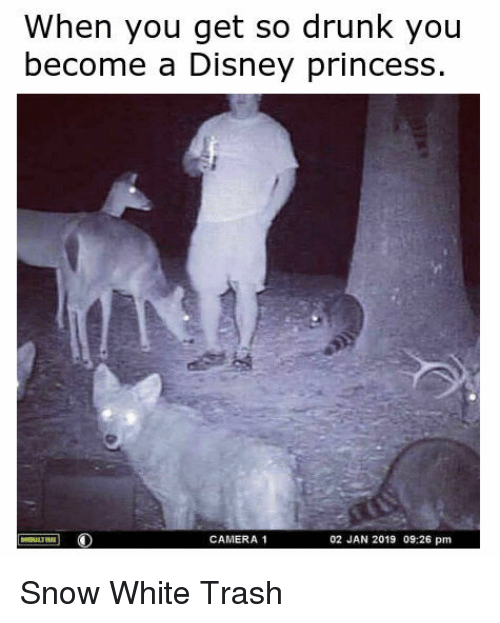 So Drunk: When you get so drunk you  become a Disney princess  CAMERA 1  02 JAN 2019 09:26 pm Snow White Trash