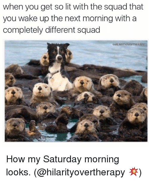 Lit, Squad, and Ups: when you get so lit with the squad that  you wake up the next morning with a  completely different squad  CHILARITYOVERTHERAPY How my Saturday morning looks. (@hilarityovertherapy 💥)