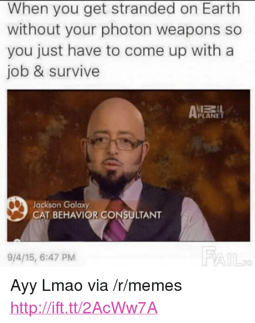 """Ayy LMAO: When you get stranded on Earth  without your photon weapons so  you just have to come up with a  job & survive  ZAL  PLANET  Jackson Galaxy  CAT BEHAVIOR CONSULTANT  9/4/15, 6:47 PM  FA <p>Ayy Lmao via /r/memes <a href=""""http://ift.tt/2AcWw7A"""">http://ift.tt/2AcWw7A</a></p>"""