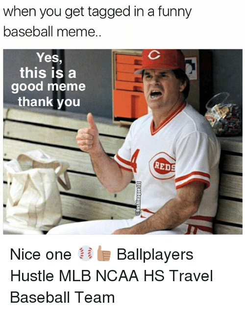 Baseball Meme: when you get tagged in a funny  baseball meme.  Yes,  this is a  good meme  thank you  RED Nice one ⚾️👍🏽 Ballplayers Hustle MLB NCAA HS Travel Baseball Team