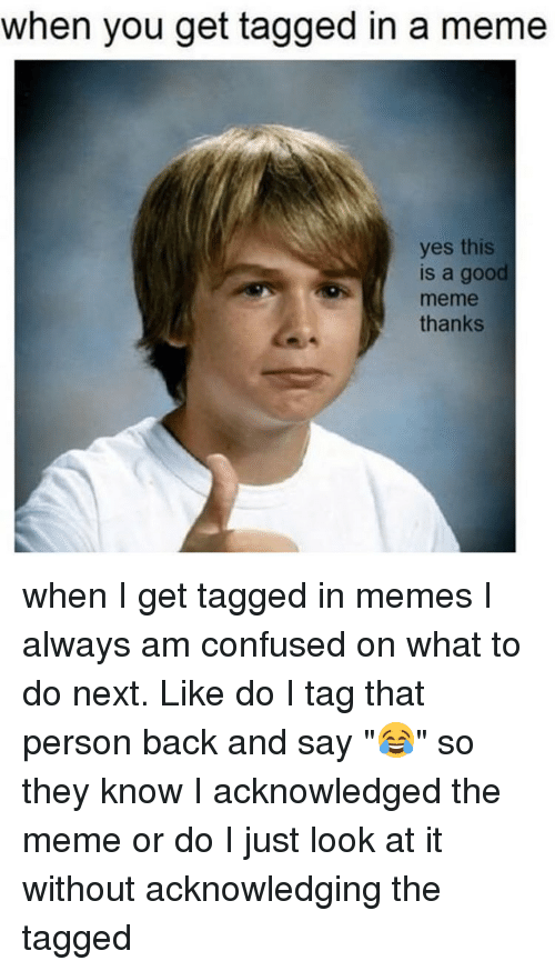 """Relatable, Confusion, and Look at It: when you get tagged in a meme  yes this  is a good  meme  thanks when I get tagged in memes I always am confused on what to do next. Like do I tag that person back and say """"😂"""" so they know I acknowledged the meme or do I just look at it without acknowledging the tagged"""