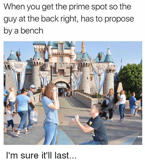 Funny, Back, and You: When you get the prime spot so the  guy at the back right, has to propose  by a bench I'm sure it'll last...