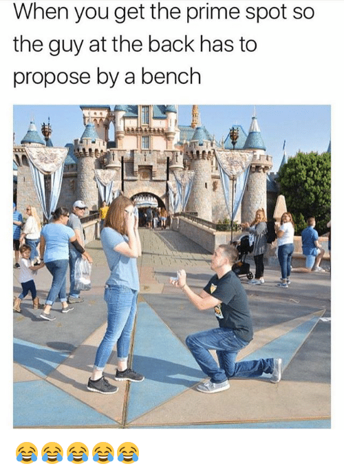 Girl Memes, Back, and You: When you get the prime spot so  the guy at the back has to  propose by a bench  ti 😂😂😂😂😂