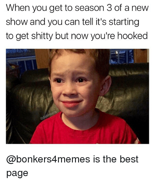 Memes, 🤖, and Best Pages: When you get to season 3of a new  show and you can tell it's starting  to get shitty but now you're hooked @bonkers4memes is the best page