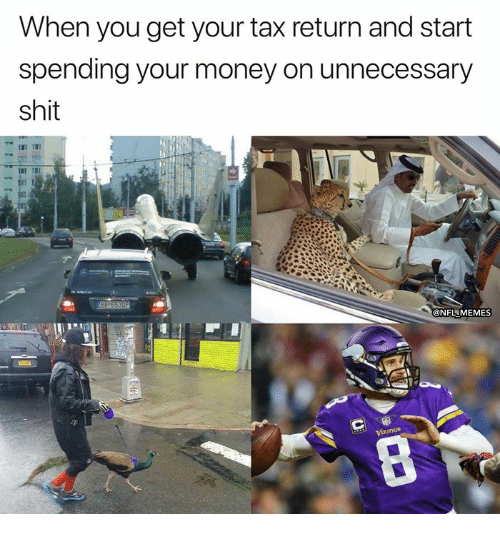 Memes, Money, and Nfl: When you get your tax return and start  spending your money on unnecessary  shit  ONFL MEMES