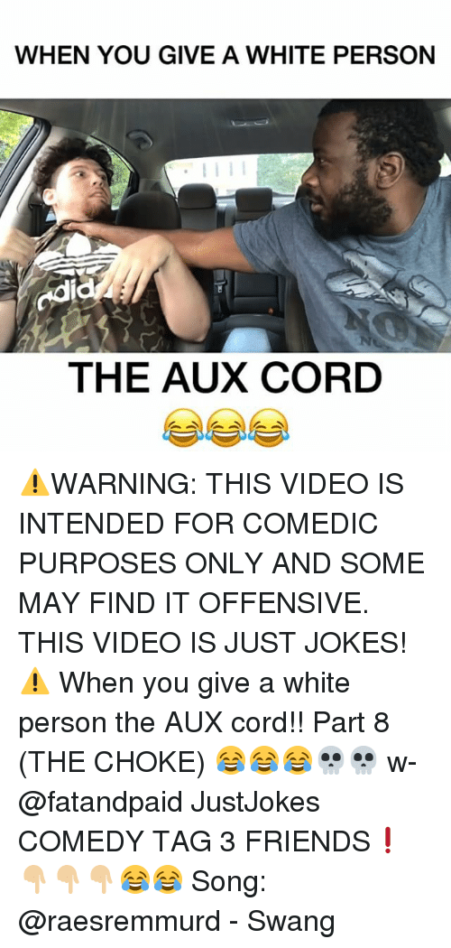 Friends, Memes, and Jokes: WHEN YOU GIVE A WHITE PERSON  odi  THE AUX CORD ⚠️WARNING: THIS VIDEO IS INTENDED FOR COMEDIC PURPOSES ONLY AND SOME MAY FIND IT OFFENSIVE. THIS VIDEO IS JUST JOKES!⚠️ When you give a white person the AUX cord!! Part 8 (THE CHOKE) 😂😂😂💀💀 w- @fatandpaid JustJokes COMEDY TAG 3 FRIENDS❗️👇🏼👇🏼👇🏼😂😂 Song: @raesremmurd - Swang