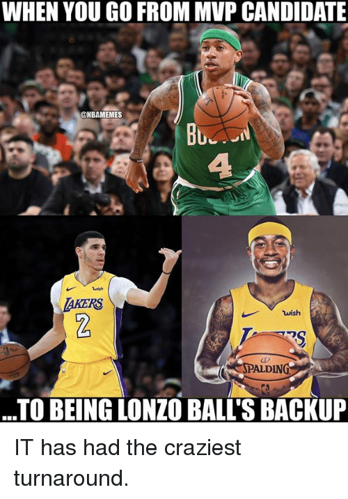 Nba, Mvp, and You: WHEN YOU GO FROM MVP CANDIDATE  @NBAMEMES  Bu  AKERS  wish  ALDIN  TO BEING LONZO BALL'S BACKUP IT has had the craziest turnaround.