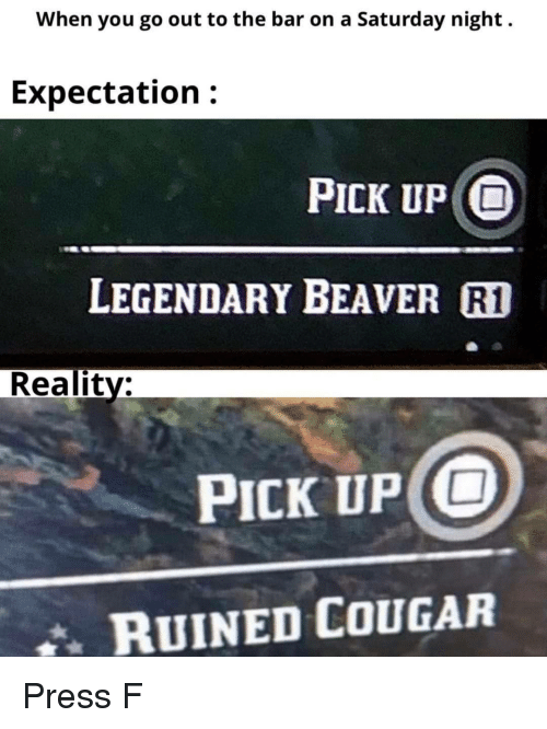 beaver: When you go out to the bar on a Saturday night.  Expectation:  PICK UP O  LEGENDARY BEAVER R1  Reality:  PICK UP O  RUINED COUGAR Press F