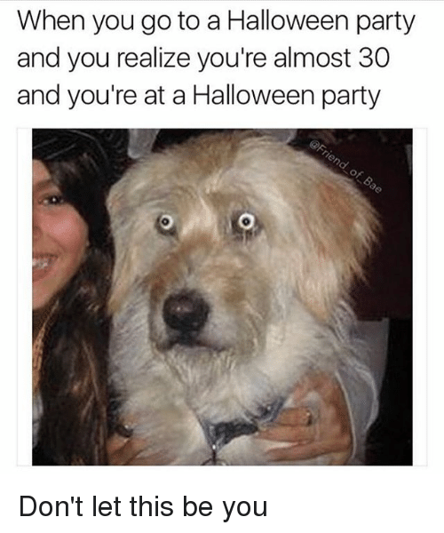 Funny, Halloween, and Party: When you go to a Halloween party  and you realize you're almost 30  and you're at a Halloween party Don't let this be you