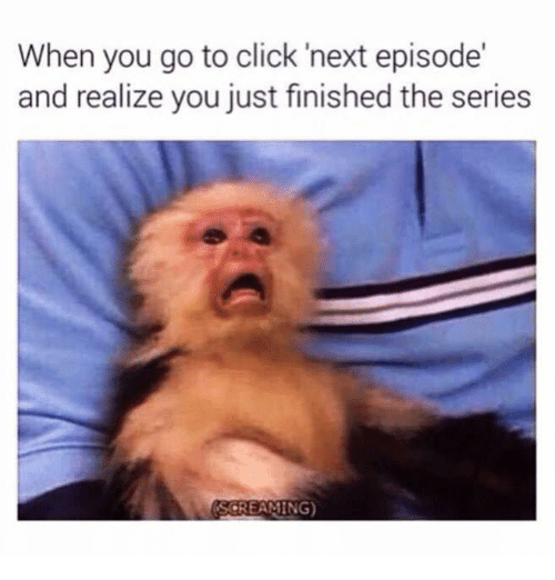 Click, Next, and You: When you go to click 'next episode'  and realize you just finished the series  SCREAMING