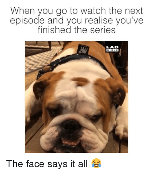 Memes, The Next Episode, and Bible: When you go to watch the next  episode and you realise you've  finished the series  LAD  BIBLE The face says it all 😂