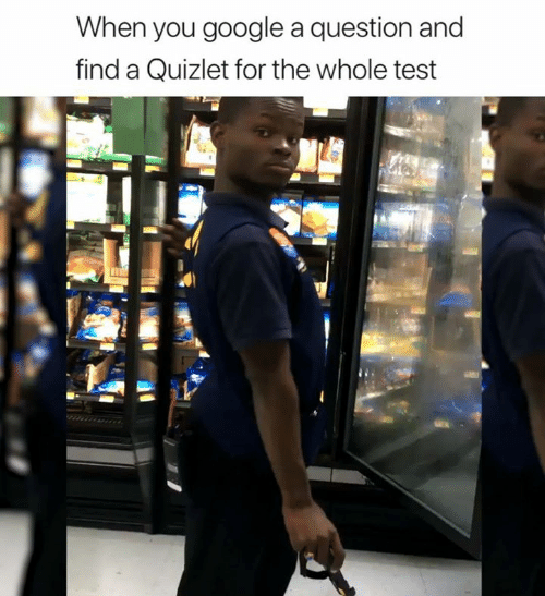 Quizlet: When you google a question and  find a Quizlet for the whole test