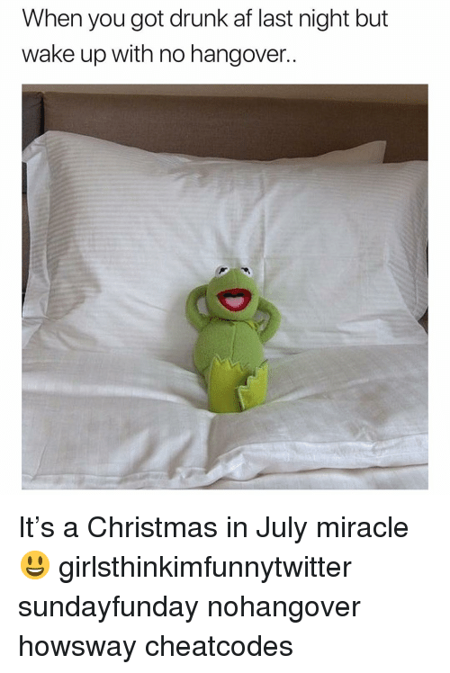No Hangover: When you got drunk af last night but  wake up with no hangover.. It's a Christmas in July miracle😃 girlsthinkimfunnytwitter sundayfunday nohangover howsway cheatcodes