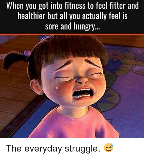 Gym, Hungry, and Struggle: When you got into fitness to feel fitter and  healthier but all you actually feel is  sore and hungry  tr The everyday struggle. 😅