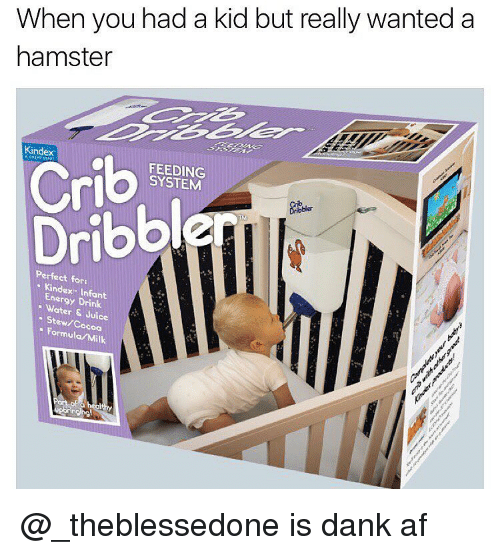 Hamster, Dank Memes, and Afs: When you had a kid but really wanted a  hamster  Crib  SYSTEM  Dribble  Dribbler  Perfect for:  Kindex- Energy Drink  J  Stew/Co  Uice  Formula coa  Milk  Port of @_theblessedone is dank af