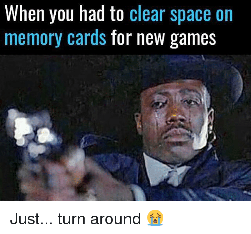 new games: When you had to clear space on  memory cards  for new games Just... turn around 😭