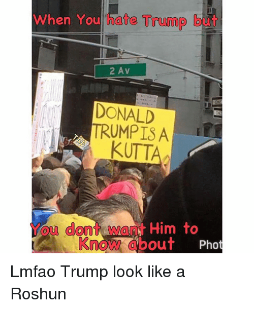 Bengali: When You hate Trump but  2 A v  DONALD  TRUMPISA  KUTT  ou dont  Him to  bout  Pho  Know Lmfao Trump look like a Roshun