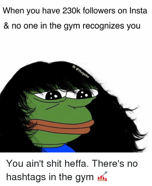 Gym, Memes, and Shit: When you have 230k followers on Instaa  & no one in the gym recognizes you You ain't shit heffa. There's no hashtags in the gym 💅🏽