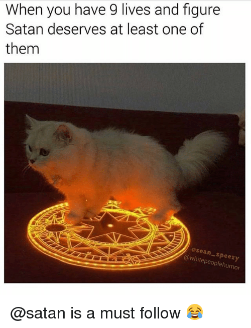 Memes, White, and Satan: When you have 9 lives and figure  Satan deserves at least one of  them  Osean  @white Speery  people humor @satan is a must follow 😂