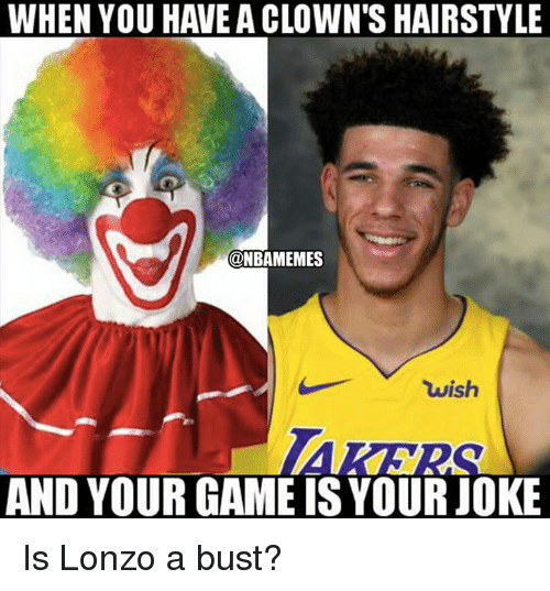 Nba, Clowns, and Game: WHEN YOU HAVE A CLOWN'S HAIRSTYLE  @NBAMEMES  wish  AND YOUR GAME IS YOURJOKE Is Lonzo a bust?