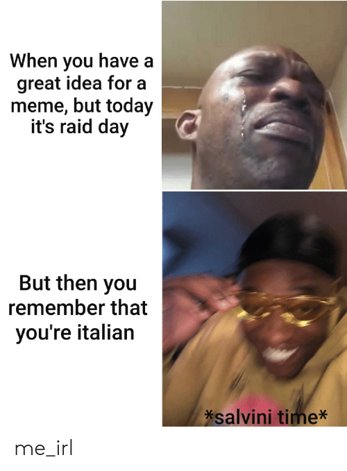 Salvini: When you have a  great idea for a  meme, but today  it's raid day  But then you  remember that  you're italian  *salvini time* me_irl